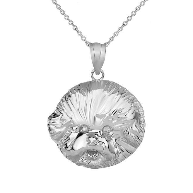 Bichon Frise Dog Head Pendant Necklace in Sterling Silver