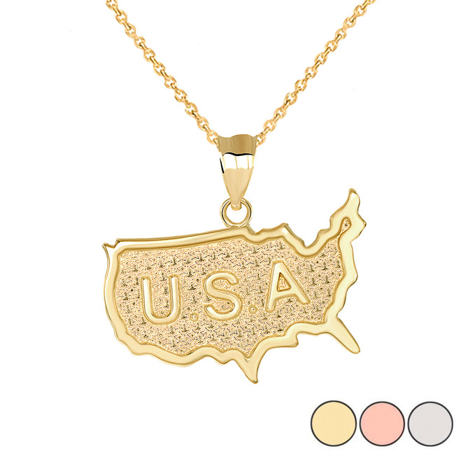 Engraved USA Map Pendant Necklace in Gold (Yellow/ Rose/White)