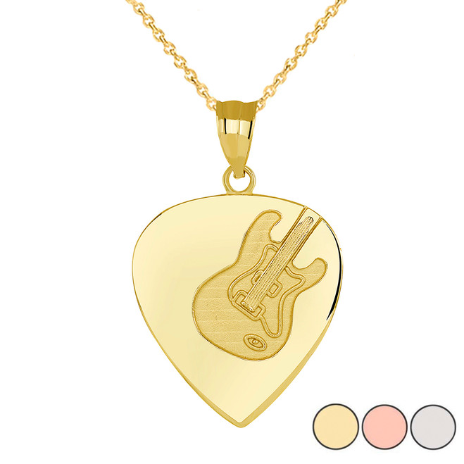 Guitar Pick Pendant Necklace in Gold (Yellow/ Rose/White)