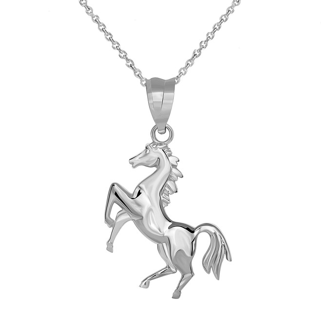 Running Horse Pendant Necklace in Sterling Silver