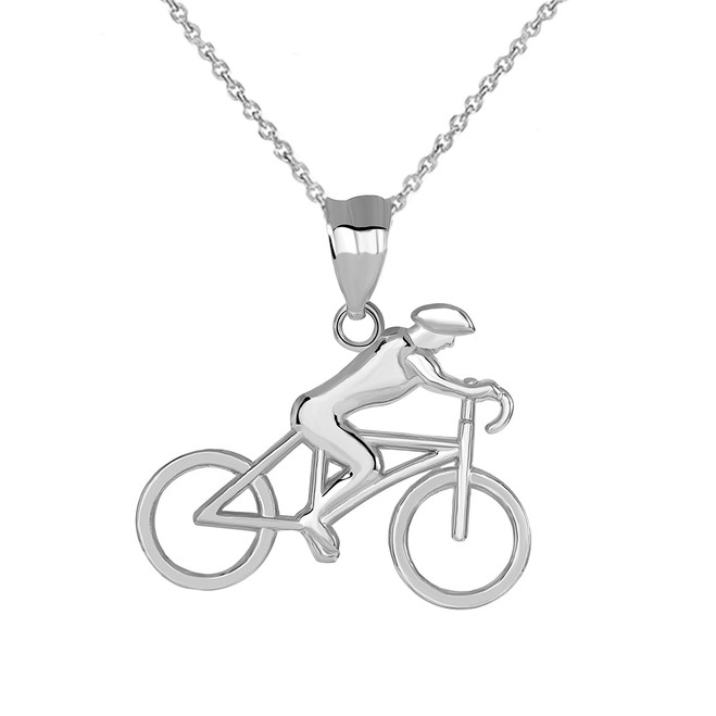 Male Cyclist Sports Pendant Necklace in Sterling Silver