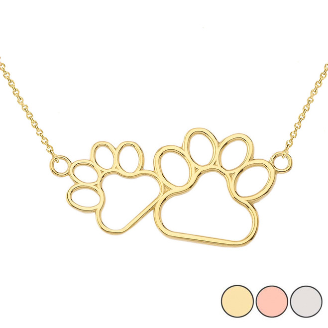 Dog Paw Outline Necklace In 14K Gold (Yellow/Rose/White)