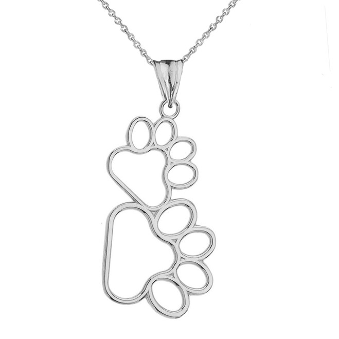 Dog Paw Outline Pendant Necklace in Sterling Silver