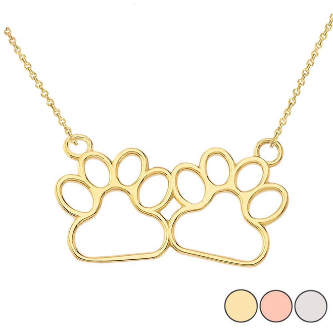 Paw Print Necklace In 14K Gold (Yellow/Rose/White)