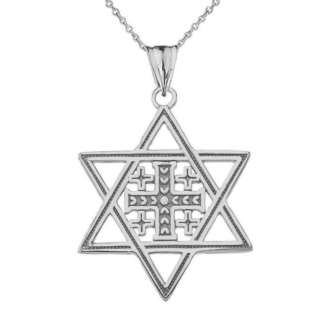 Jerusalem Cross in Star of David Pendant Necklace in Sterling Silver