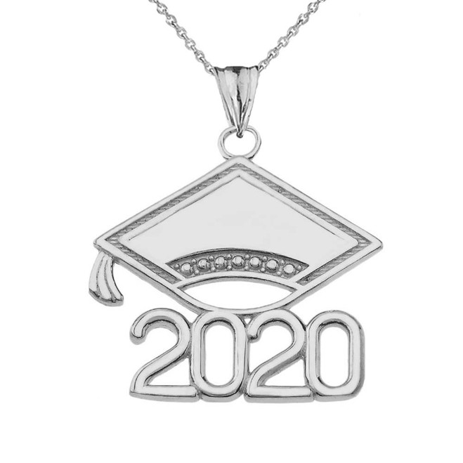Class of 2020 Graduation Cap Pendant Necklace In Sterling Silver