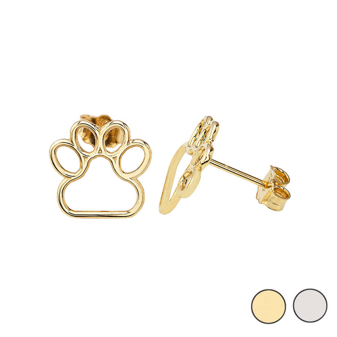14K (Yellow/White) Gold Dainty Dog Paw Print Earrings