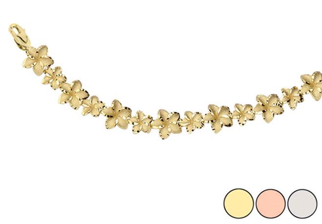 Hawaiian Plumeria Flower Elegant Bracelet In Gold (Yellow/Rose/White)