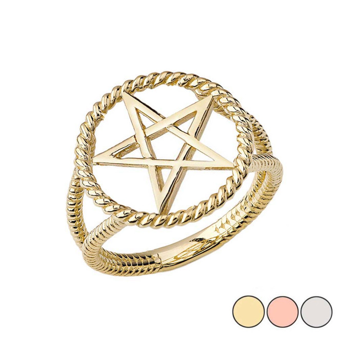 Elegant Open Pentagram Rope Ring in Gold (Yellow/Rose/White)