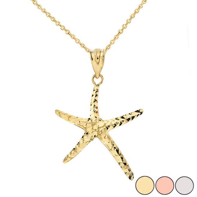 Starfish Pendant Necklace in Gold (Yellow/Rose/White)