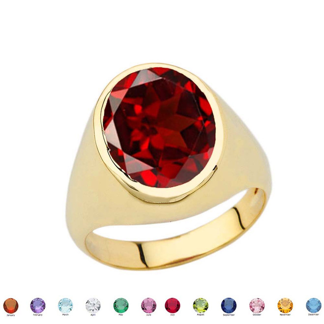 Men's Fancy Statement Ring With 10ct Personalized (LC) Birthstone In Yellow Gold 10K