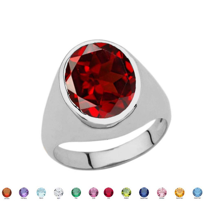Men's Fancy Statement Ring With 10ct Personalized (LC) Birthstone In Sterling Silver