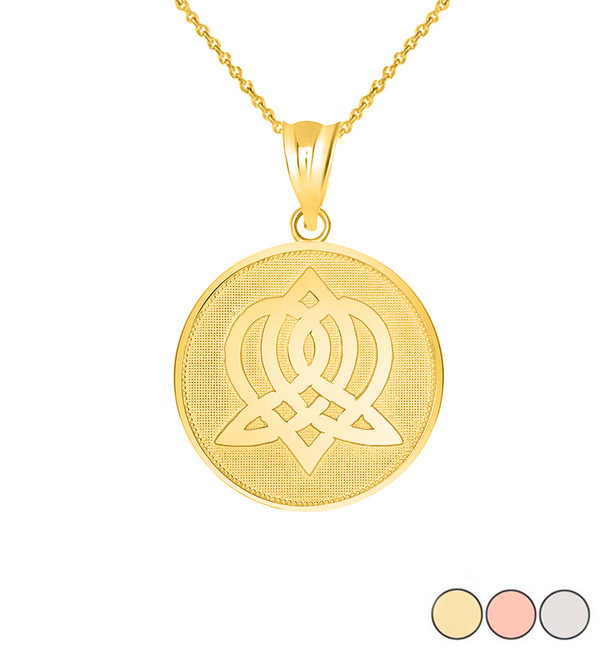 Celtic Knot Sisterhood Disc Pendant Necklace in Gold (Yellow/ Rose/White)