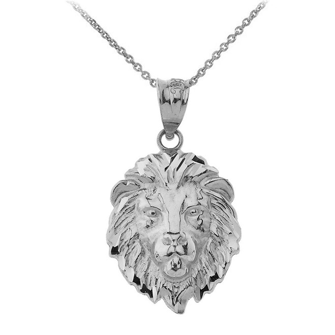 """Lion's Head Small Pendant Necklace (1.01"""") in Sterling Silver"""