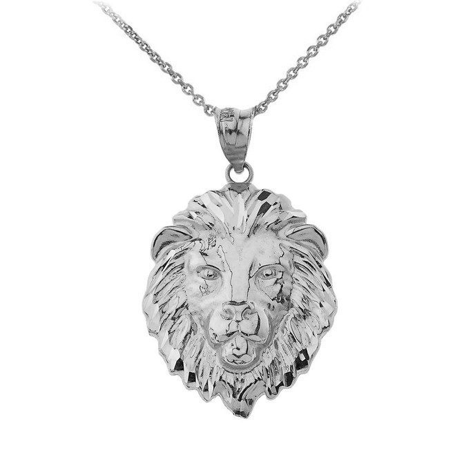 """Lion's Head Medium Pendant Necklace (1.32"""") in Sterling Silver"""