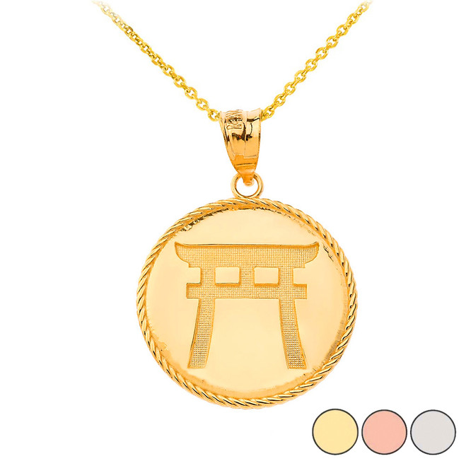 Japanese Torii Shinto Gate Disc Pendant Necklace in Gold (Yellow/ Rose/White)