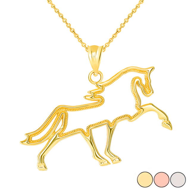 Outlined Running Stallion Horse Pendant Necklace in Gold (Yellow/ Rose/White)