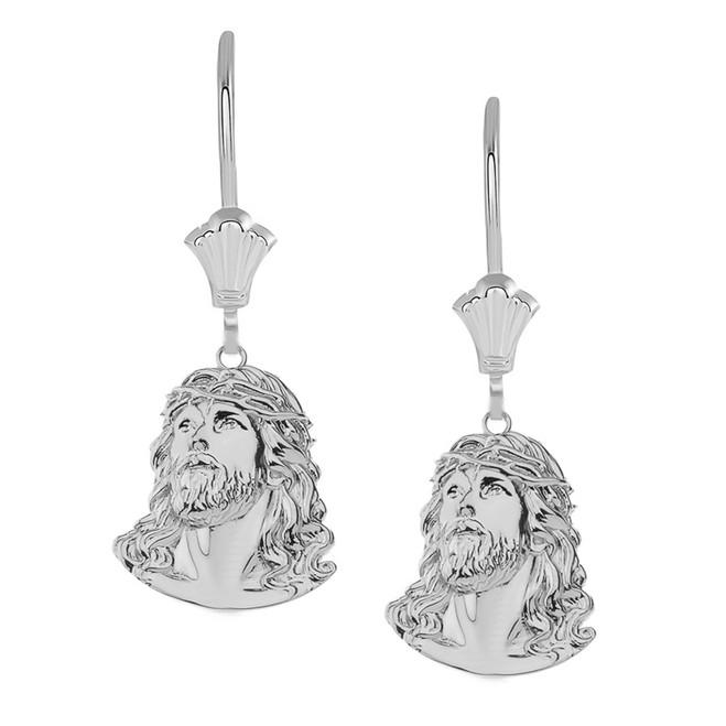 Jesus Christ Head Leverback Earrings in 14K White Gold