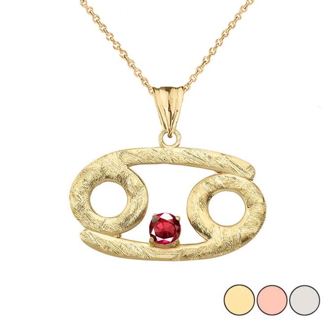 Elegant Satin Finish Gold Cancer Zodiac Sign July Birthstone Pendant Necklace In Gold