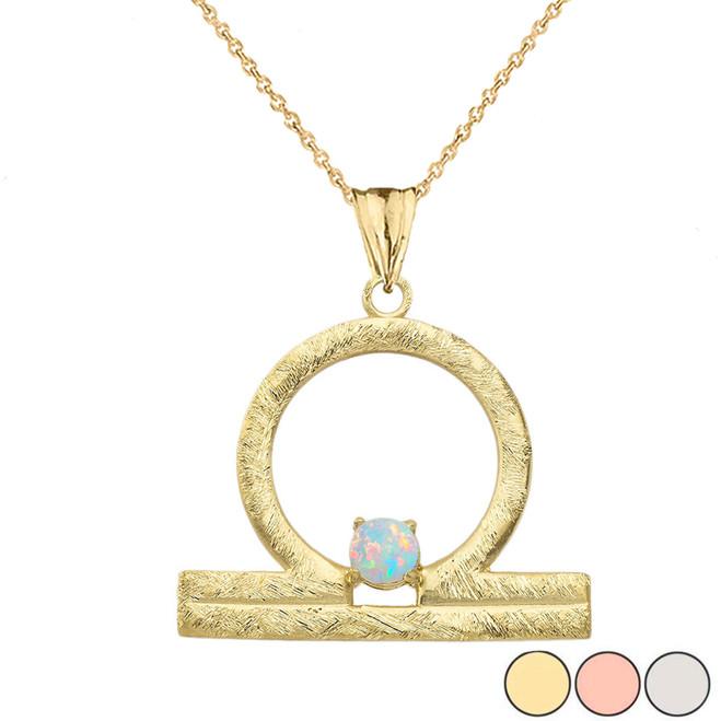 Elegant Satin Finish Libra Zodiac Sign October Birthstone Pendant Necklace In Gold