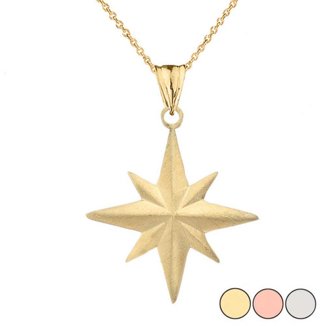 Satin Finish Elegant North Star Pendant Necklace in Gold (Yellow/Rose/White)