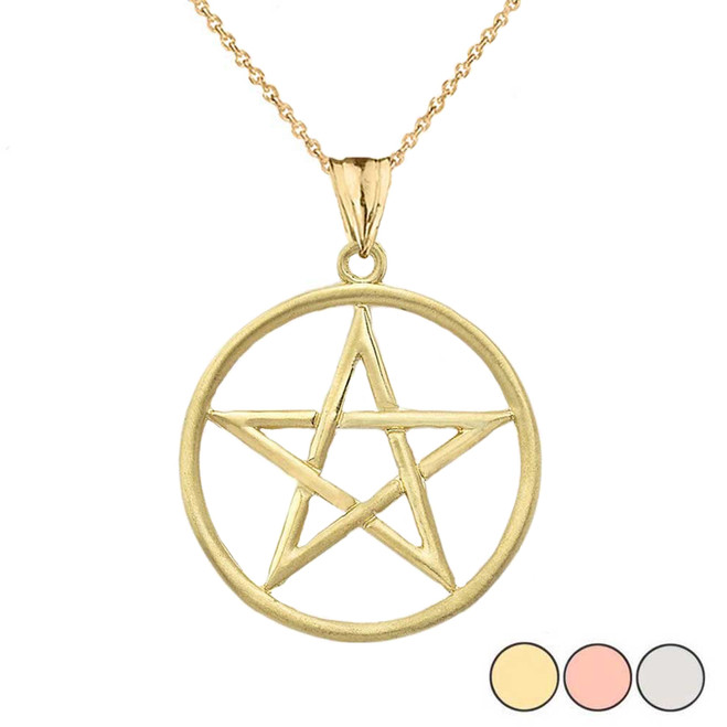 Satin Finish Elegant  Pentagram Pendant Necklace in Gold (Yellow/Rose/White)