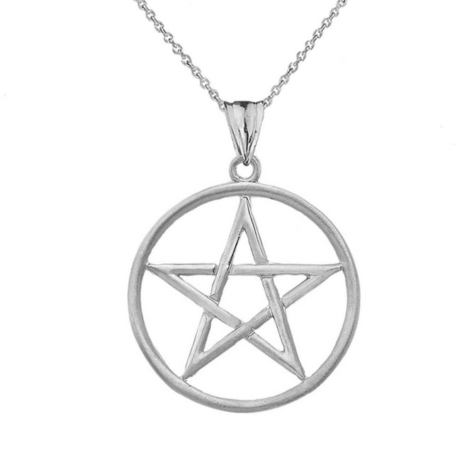 Satin Finish Elegant  Pentagram Pendant Necklace in Sterling Silver