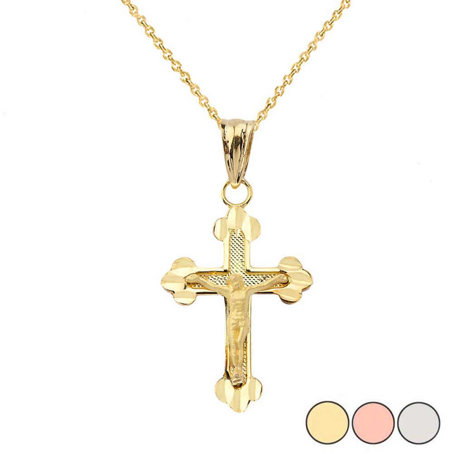 Greek Orthodox Cross Pendant Necklace in Gold (Yellow/Rose/White)