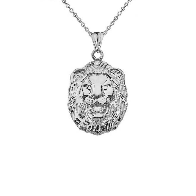 Sparkle Cut Lion Pendant Necklace In Sterling Silver