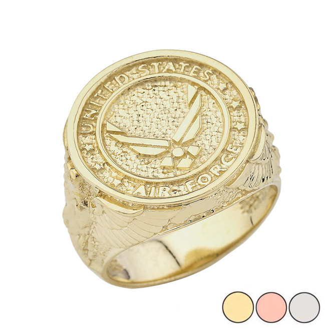 US Air Force Ring in Gold (Yellow/Rose/White)