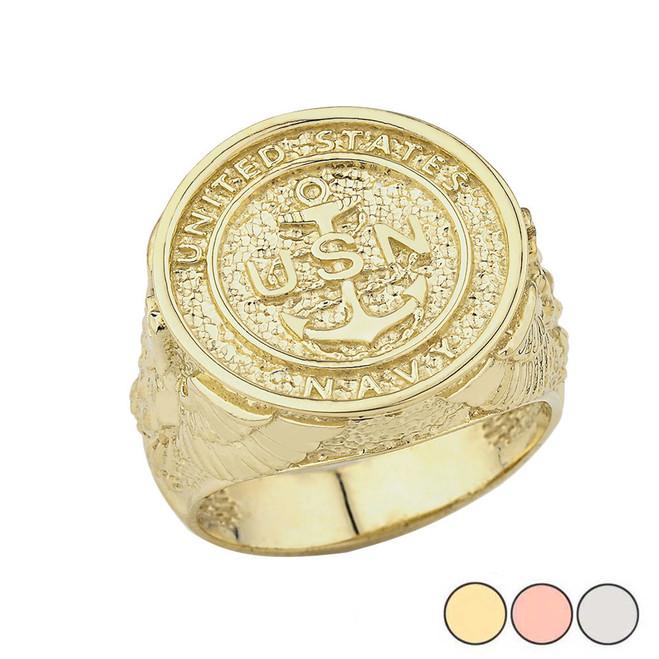 US Navy Ring in Gold (Yellow/Rose/White)