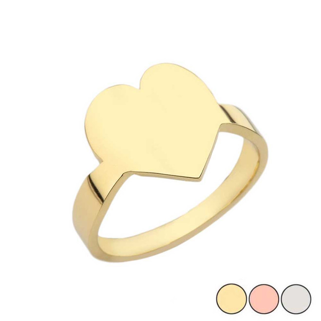 Ladies Engravable  Heart ♡ Shape Ring In Yellow/Rose/White Gold