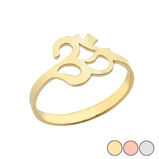 Ohm /Om Ring In (Yellow/Rose/White) Gold