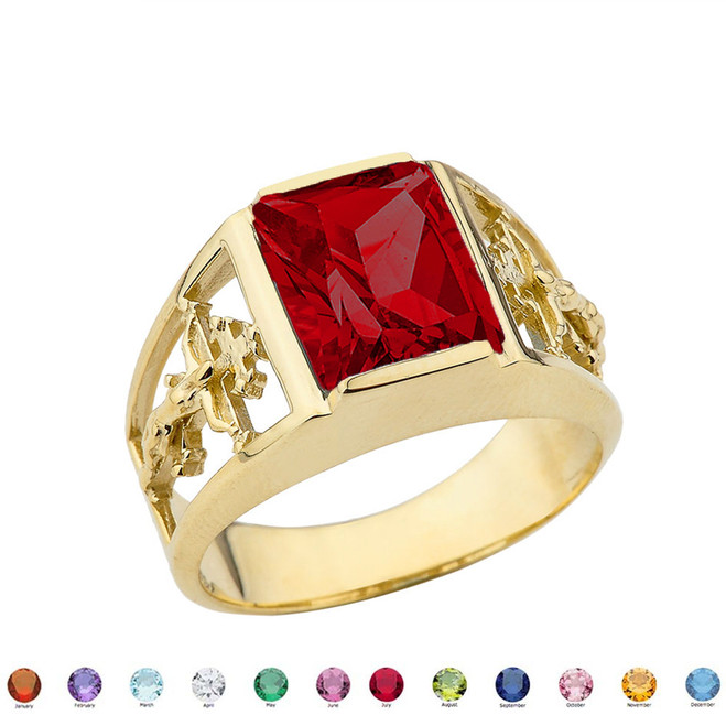 Orthodox Cross Mens Ring With  Personalized  (LC)  Birthstone In 10K Yellow Gold