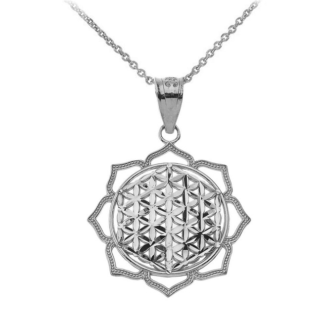 Flower of Life Pendant Necklace in Sterling Silver