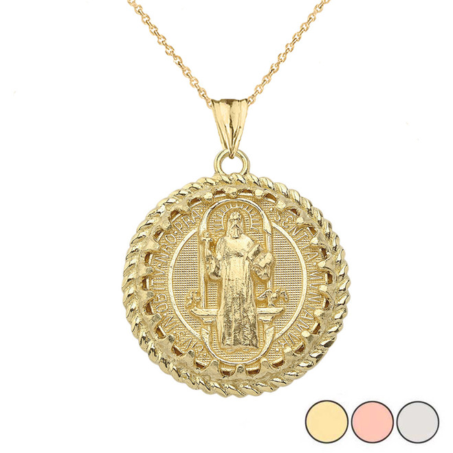 Saint Benedict statement Pendant Necklace in  Gold (Yellow/Rose/White)