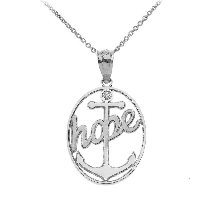Hope Anchor CZ Pendant Necklace in Sterling Silver