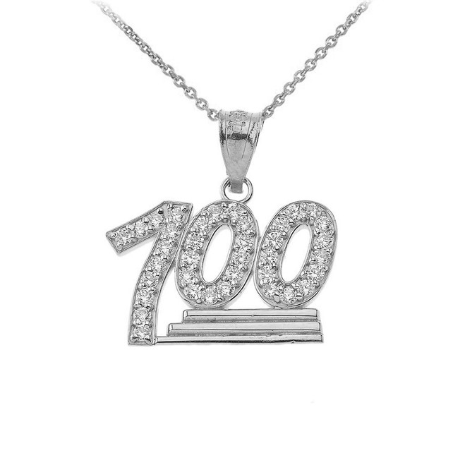 100 Points Emoji CZ Pendant Necklace in Sterling Silver