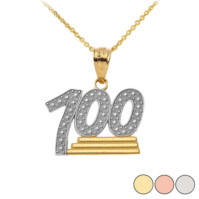 Textured 100 Points Emoji Pendant Necklace in Gold (Yellow/ Rose/White)