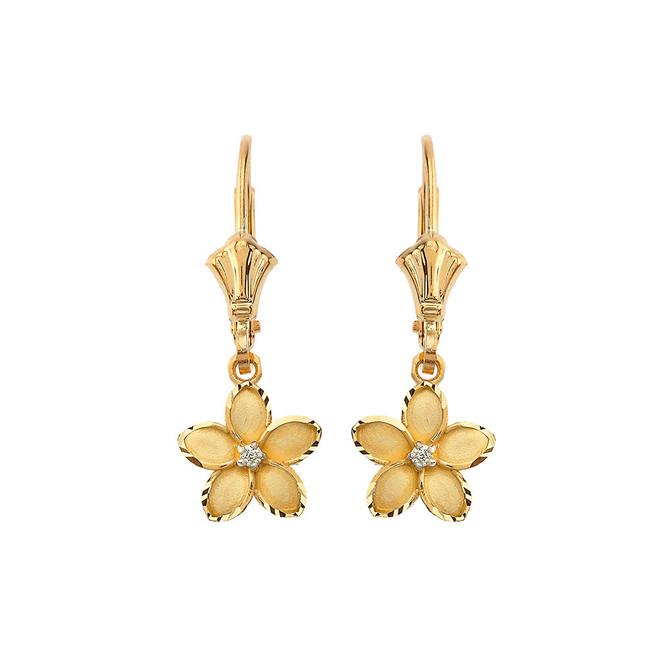 "Small Plumeria Flower Diamond Leverback Earrings in Yellow Gold (0.95"")"