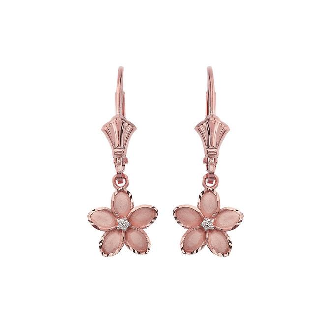 """Small Plumeria Flower Diamond Leverback Earrings in 14K Rose Gold (0.95"""")"""