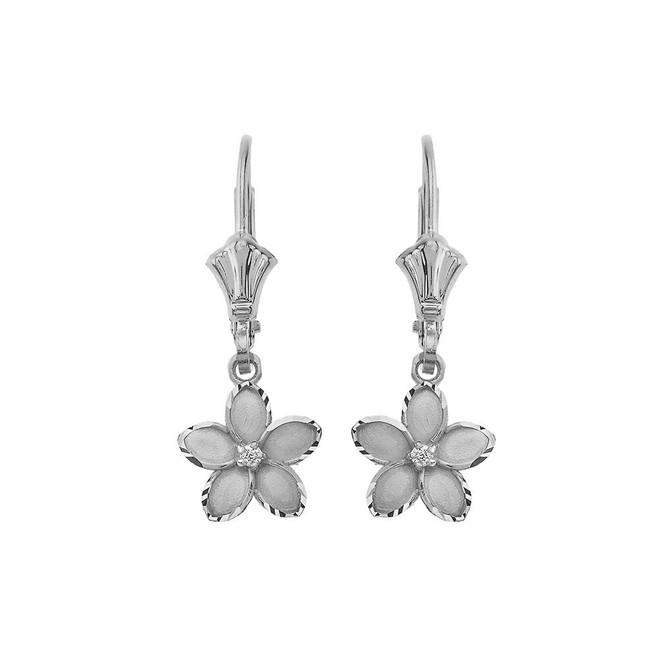 """Small Plumeria Flower Diamond Leverback Earrings in 14K White Gold (0.95"""")"""