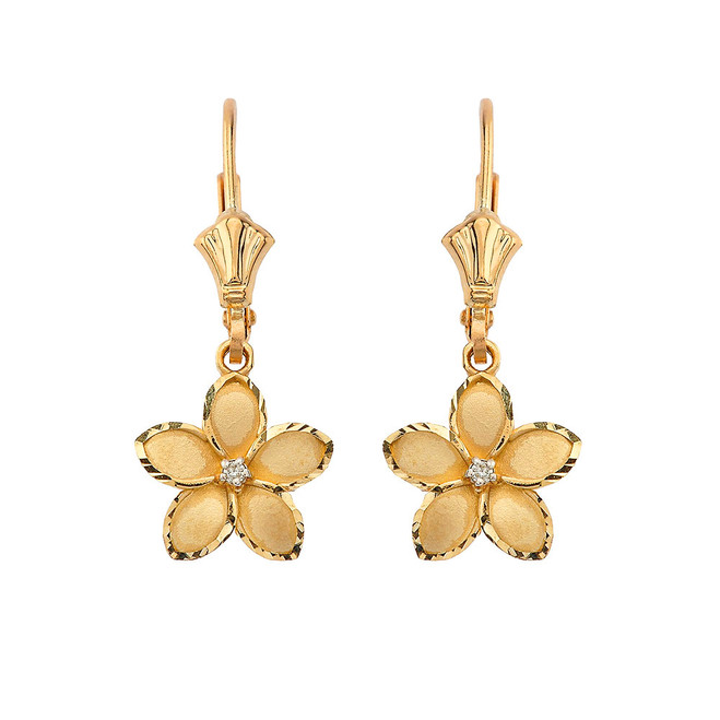 "Medium Plumeria Flower Diamond Leverback Earrings in Yellow Gold (1.04"")"