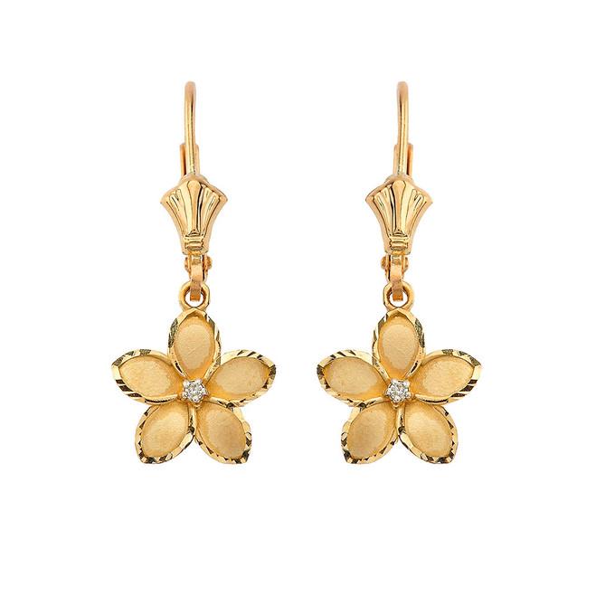 "Medium Plumeria Flower Diamond Leverback Earrings in Yellow Gold (1.04"")"