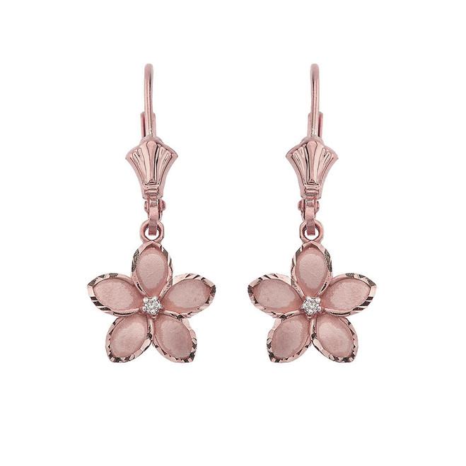 """Medium Plumeria Flower Diamond Leverback Earrings 14K in Rose Gold (1.04"""")"""