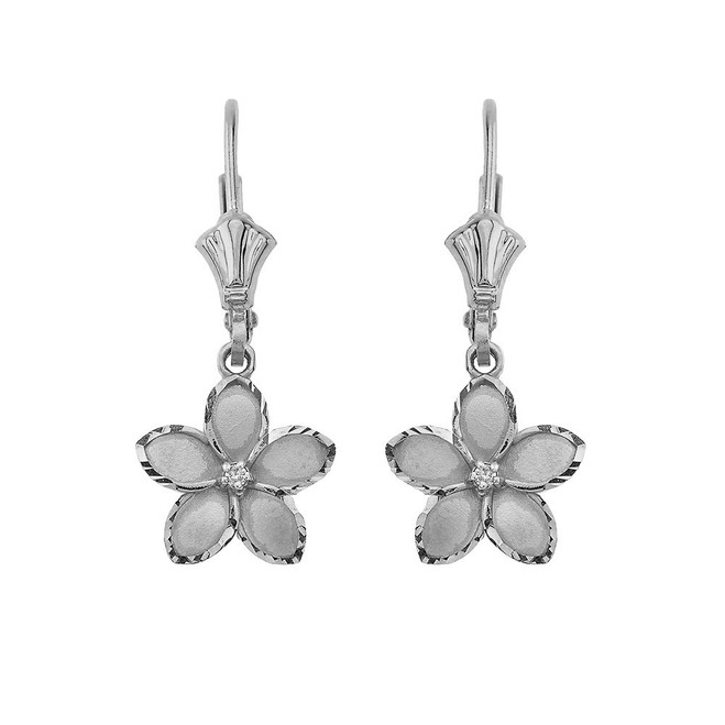 """Medium Plumeria Flower Diamond Leverback Earrings 14K in White Gold (1.04"""")"""
