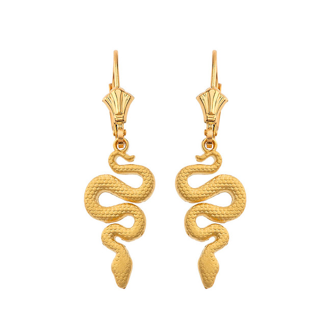 Textured Snake-Serpent Leverback Earrings in Yellow Gold