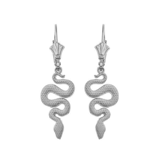 Textured Snake-Serpent Leverback Earrings in Sterling Silver