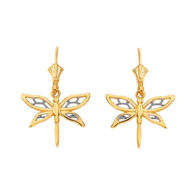 Adorable Dragonfly Two-Tone Leverback Earrings in Yellow Gold