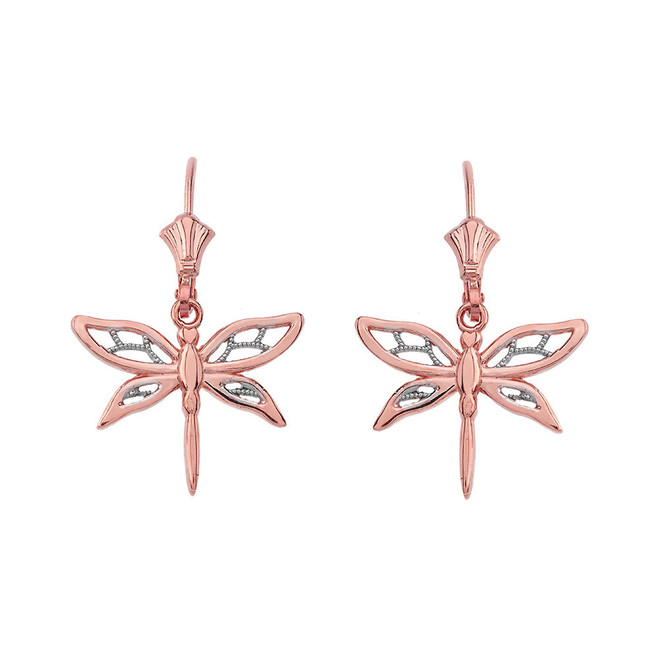 Adorable Dragonfly Two-Tone Leverback Earrings 14K in Rose Gold